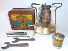 Vintage 1935 PRIMUS 96 Complete Touring & Camping Stove with Accessories. Everything in this picture can be fitted inside the tin box.