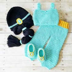 Crochet Baby Princess Jasmine Pants Top Shirt Hat Beanie Headband Shoes Set Newborn Infant Baby Handmade Costume Dress Up Photography Photo Prop Baby Shower Gift Present