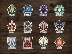 Class Emblem Stickers tabletop rpg fanart redbubble adobe art collaboration dd d… Rpg World, Dnd Classes, Dnd Art, Disney Concept Art, D&d Dungeons And Dragons, Game Icon, Tabletop Rpg, Dnd Characters, Game Design