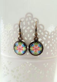Dangle Earrings TIME MANDALA Earrings Spiral Earrings Colorful Mandala Earrings Drop Earrings Mandala Art Print Mandala Jewelry Handmade