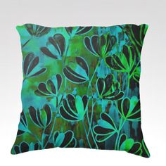EFFLORESCENCE Bold Deep Green Turquoise Blue Floral Fine Art Decorative Velveteen Throw Pillow Cushion Cover by EbiEmporium, Lovely Turquoise Cerulean Lime Green Flowers Abstract Pretty Stylish Garden Pattern #whimsical #art #fineart #turquoise #pillow #decorative #pillowcover #cushion #boldcolors #pattern #throwpillow #luxury #velveteen #elegant