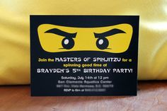 Ninjago  Birthday Party Invitation ideas