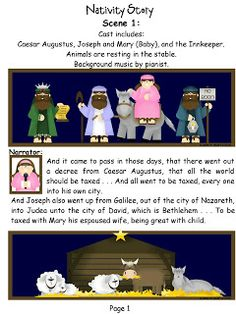 The Nativity Play! Has printable scenery and characters with some great ideas about how to use them!