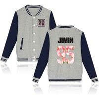 Wish | Kpop BTS 95 JIMIN Bangtan Boys  95 JIMIN BaseBall jacket BTS Uniform 4Colors Plus Size 4XL