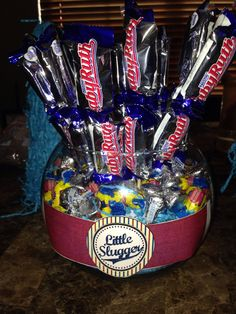 Candy bouquet baseball babyshower