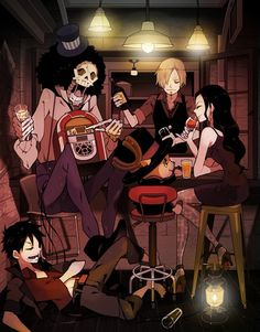 Anime, ONE PIECE, Sanji, Nico Robin, Monkey D. Luffy