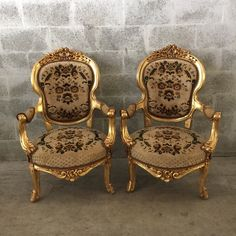 Antique Italian Baroque Small Throne Style Chair Fauteuil Armrest Gold Leaf Gild Refinished Rococo Louis XVI Original Reupholstering by SittinPrettyByMyleen on Etsy