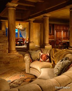 David Naylor Interiors in Santa Fe, New Mexico offers full-service residential and commercial interior design locally as well as nationally Tuscan Design, Tuscan Style, Beautiful Living Rooms, Beautiful Homes, Santa Fe, New Mexico, Curved Sectional, Curved Couch, Tuscan House