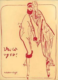"""""""Voilà 1958"""".  Farbdruck nach Zeichnung Walter Voigt (1908–1984).  Privatsammlung."""