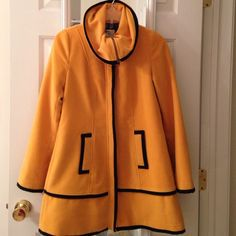 Modcloth Yellow swing coat Beautiful yellow jacket with zipper and spread collar. Worn just twice,looks brand new ModCloth Jackets & Coats