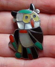 Vintage Antique Snowda ESALIO Zuni Inlay Great Horned Owl Brooch/Pendant-Signed