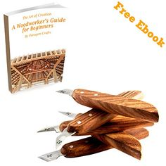 5 Knife Wood Chip Carving Set with Ergonomic Handle Razor Sharp Blades. A Must Have Carving Chisel Set for Woodworking Whittling Cabinet Making and General Workbench Projects.