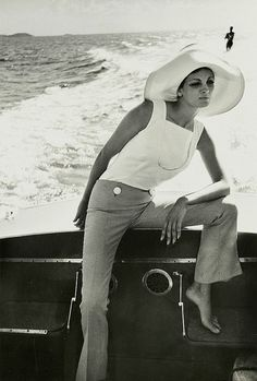 Dolores Wettach wearing a Mary Quant sailor suit, photo by Norman Parkinson, Queen magazine, 1961