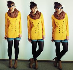 Yellow military blazer.  (by Maddy C) http://lookbook.nu/look/2463473-Yellow-military-blazer