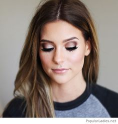 Nude makeup style with brown hair