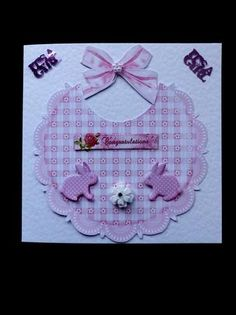 New Baby Girl on Craftsuprint designed by June Young - made by Marion Enefer - Cute design for New Baby. Printed, cut out and layered up then attached to my square blank card. Used 2 x shiny 'it's a girl' from my stash and then a tiny daisy pearl on bow and a glitter flower on bib. Such a pretty card when finished. - Now available for download!