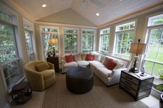 Must See Popular 3 Season Room Design Ideas, Plans & Cost Estimation # Home Renovation, Home Remodeling, Sunroom Decorating, Sunroom Ideas, Porch Ideas, Four Seasons Room, Sunroom Addition, Three Season Room, Sunroom Furniture