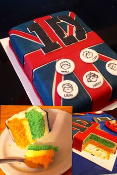 One Direction Cake  1D -fondant   (Cartoon Faces from Sweet Sugar Belle: http://pinterest.com/pin/171488698285342753/)