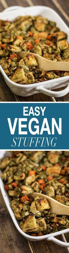 This easy vegan stuffing is delicious and packed full of flavor! Easily gluten free and full of flavor, this stuffing is a crowd pleaser!