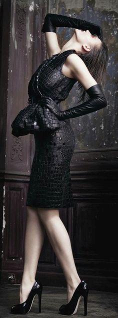 black leather cocktail dress