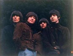 """The original photo for the cover of Rubber Soul. Photographer Bob Freeman had taken some pictures of the group at Lennon's house. Freeman showed the photos by projecting them on a piece of cardboard to simulate how they would appear on an album cover. The unusual Rubber Soul album cover came to be when the slide card fell slightly backwards, elongating the projected image of the photograph and stretching it. Excited by the effect, they said: """"Ah! Can we have that? Can you do it like that?"""""""