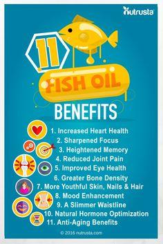11 Fish Oil Benefits. Brain, joint, anti-inflammation, hair, skin, nails, waistline, mood, anti aging