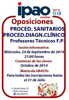 Preparación de las oposiciones de Procedimientos Sanitarios y Procedimientos de Diagnóstico Clínico
