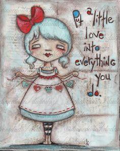 """Original Folk Art Mixed Media Canvas """"Made with Love """"by DUDADAZE, $100.00 ©dianeduda/dudadaze"""