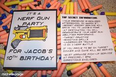 Nerf Gun Party....my boys would LOVE this party idea!!