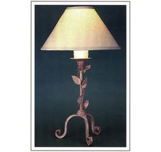 "8056  HAND FORGED IRON LAMP SHADE: 6X18X10 WITH WHITE WAX CANDLE FINISH SHOWN: CUSTOM MAXIMUM WATTAGE: 150 ONE 3-WAY EDISON BASE SOCKET HT 30"" W 18"""