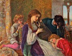 Arthur Hughes (British Pre-Raphaelite painter) 1832 - 1915. A Music Party, 1864