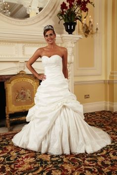 The Suffolk Wedding Dress Exchange is a Bridal Barn in Framlingham, Suffolk selling sample and once worn designer weddding dresses at discounted prices. Ruffles, One Shoulder Wedding Dress, Satin, Couture Bridal, Gowns, Wedding Dresses, Kiss, Size 12, How To Wear