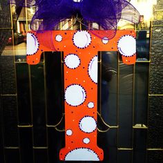 On Sale for a Limited Time...18 Inch Wooden Initial Hand Painted Orange With White Polka Dots and Purple Accents with Purple Deco Mesh Bow on Etsy, $35.00 Painted Initials, Wooden Initials, Hand Painted, Diy Letters, Alphabet Letters, Best Christmas Gifts, Christmas Crafts, Deco Mesh Bows, Decorating Ideas