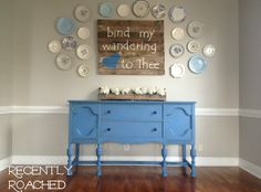 Pallet Art. Buffet Table. Dishes on the wall. #DIY