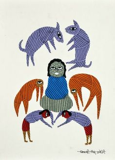 The Revered Ascetic - Gond art of India