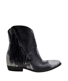 CINZIA ARAIA-Leather Texan Boots with Fringe