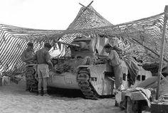 British tank Matilda camouflaged in the desert.