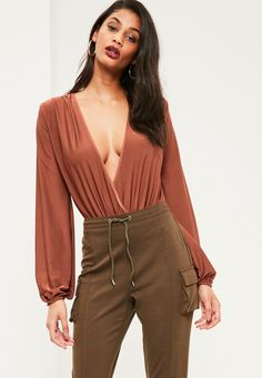 Missguided - Brown Blouson Sleeve Wrap Front Bodysuit