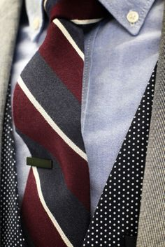 Mens Fashion - Blue oxford shirt, striped tie, green tie clip, polka dot vest