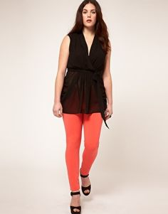 Belted wrap top - plus size. I can't decide if I love or hate that it's sheer on the bottom half...