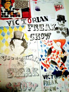 Title: Victorian Freak Show School Stuff, Art Projects, Typography, Victorian, Water, Movie Posters, Crafts, Painting, Letterpress