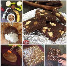 Brownie(9) -1 plátano bien maduro (cambur)  -1/2 taza de leche (vegetal o de vaca)  -50 grs de chocolate (alguna barra 60% cacao o mas, pacari tiene algunas barras veganas)  -1/4 taza de cacao en polvo sin azúcar.  -1 taza de avena en polvo (tritura la normal)  Extra -Nueces u otro fruto seco que prefieras.