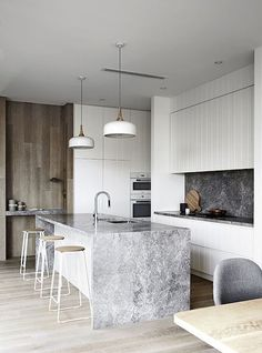 white, timber and marble kitchen
