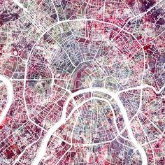 """""""Moscow map"""" Malerei von Map Map Maps jetzt als Poster, Kunstdruck oder Grußkarte kaufen.."""