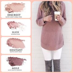 This amazing rose combo is perfect for cozy days. light coral pink (discreet) and mauve maroon (agile), paired with rose (slick) and dusty rose (hesitant). Build your Younique Eyeshadow Palette, Pink Eyeshadow, Eyeshadow Looks, Eyeshadows, Party Makeup, Eye Makeup, Hair Makeup, Mauve, Romantic Makeup
