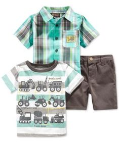 Nannette Baby Boys' 3-Piece Work Trucks Shirts & Shorts Set