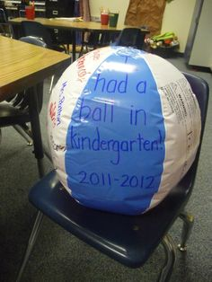 "Fantastic idea! ""As an end of the year gift I bought my students beach-balls , they collected classmates signatures..we had a ""ball"""