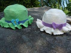 Ravelry: Sunhat / Solhatt barn pattern by Sofie Hillersand Crochet Kids Hats, Crochet Clothes, Easy Crochet, Crochet Baby, Knit Crochet, Baby Knitting Patterns, Sun Hats, Ravelry, Headbands