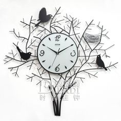 Drow mute bird nest wrought iron  bird art  fashion personalized wall clock…