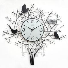 Drow mute bird nest wrought iron  bird art  fashion personalized wall clock…